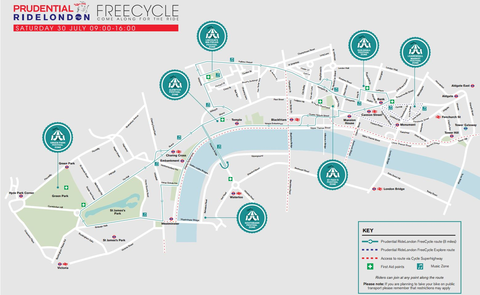 Prudential RideLondon 2016 FreeCycle route map